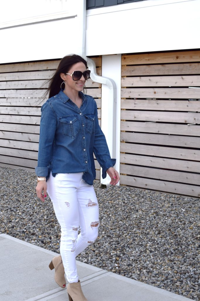 Express Chambray Shirt styled by popular New Jersey fashion blogger Fit Mommy in Heels