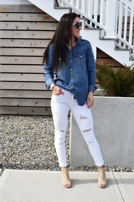 chambray top - Express Chambray Shirt styled by popular New Jersey fashion blogger Fit Mommy in Heels