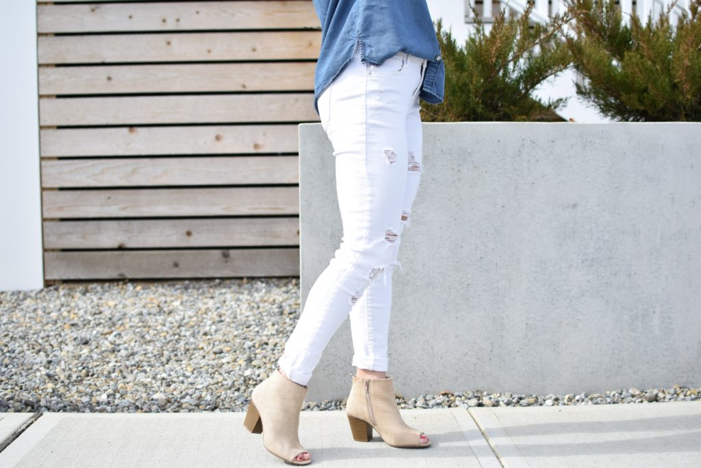 peep toe booties - Express Chambray Shirt styled by popular New Jersey fashion blogger Fit Mommy in Heels