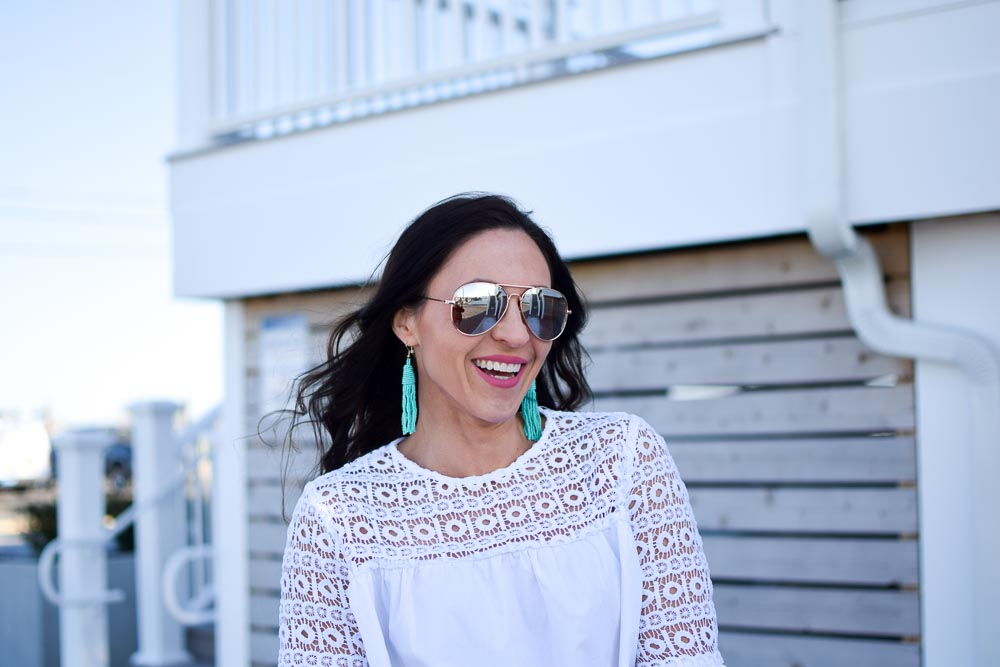 aviator sunglasses - shopbop bell sleeve blouse by popular New Jersey fashion blogger Fit Mommy in Heels