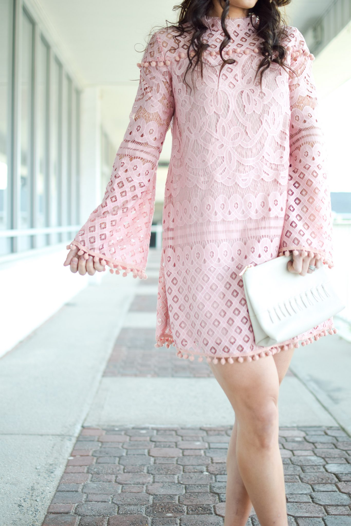 pink lace dress by popular New Jersey fashion blogger Fit Mommy in Heels