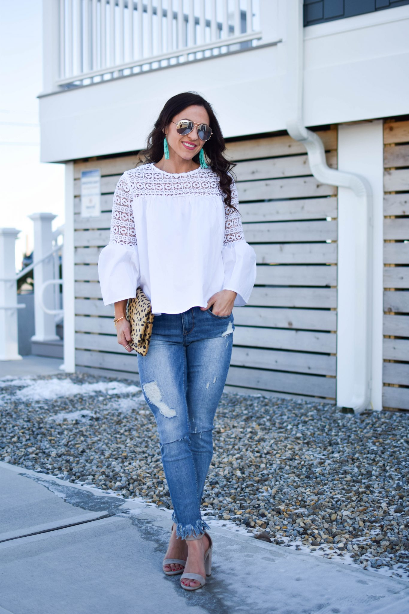 bell sleeve blouse - shopbop bell sleeve blouse by popular New Jersey fashion blogger Fit Mommy in Heels