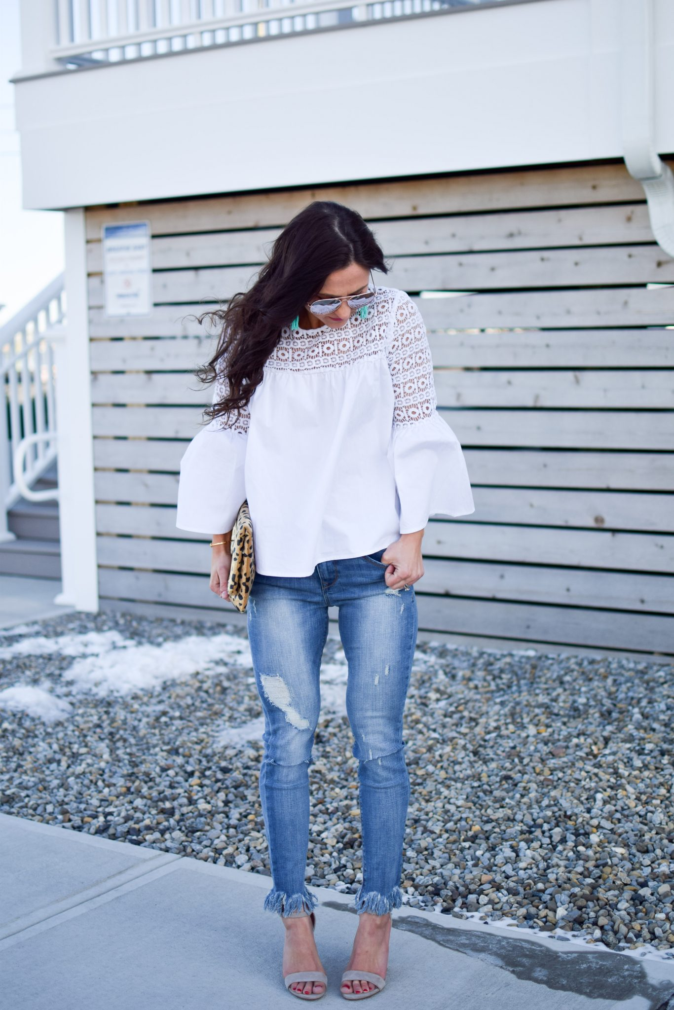 frayed jeans - shopbop bell sleeve blouse by popular New Jersey fashion blogger Fit Mommy in Heels