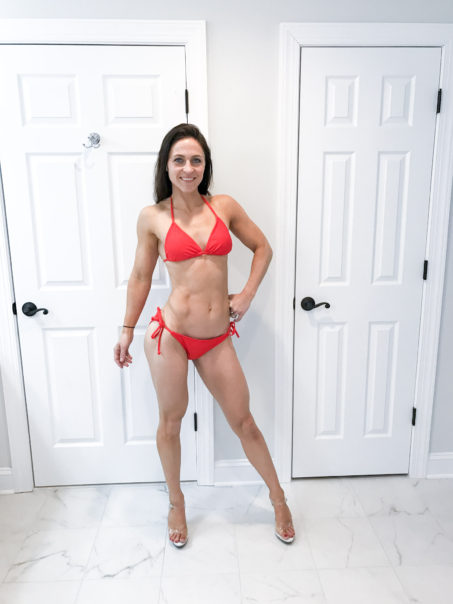 front pose - Competition Prep Progress by popular New Jersey fitness blogger Fit Mommy in Heels