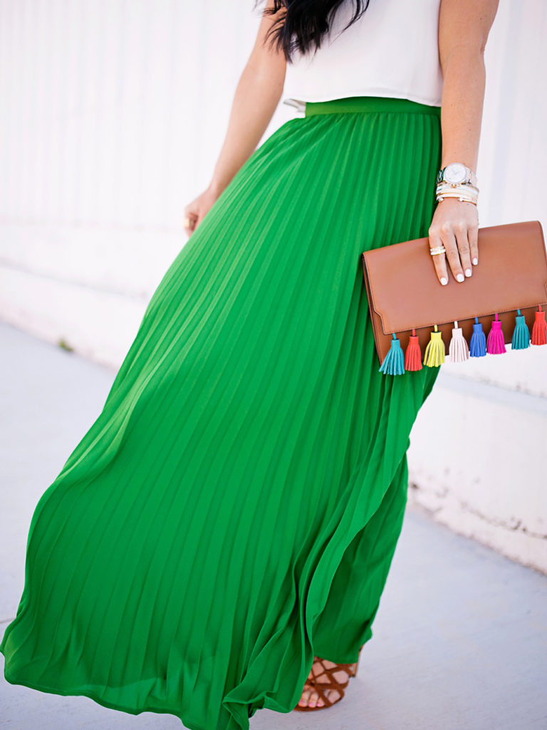 green chiffon skirt - SheIn Spring dresses styled by popular New Jersey fashion blogger Fit Mommy in Heels