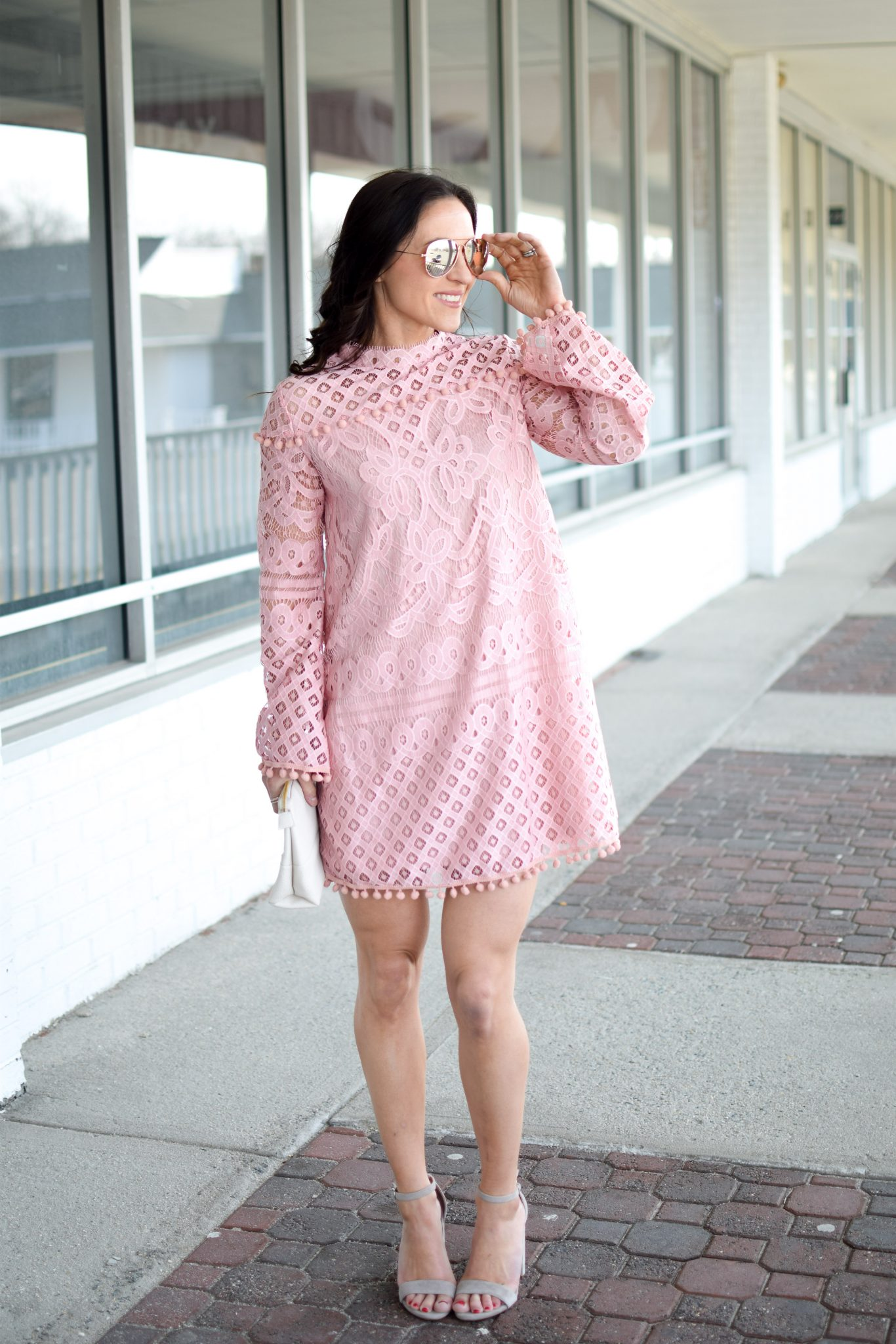 easter dress - pink lace dress by popular New Jersey fashion blogger Fit Mommy in Heels