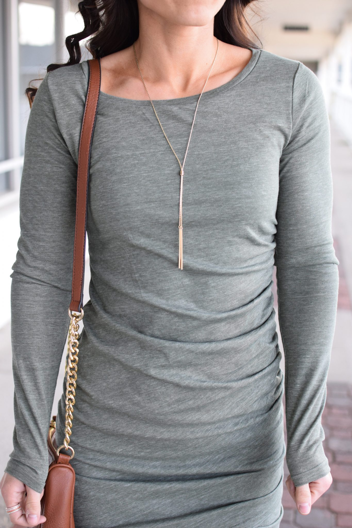 simple necklace - Most Flattering Dress EVER by popular New Jersey style blogger Fit Mommy in Heels