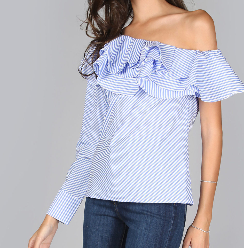 one shoulder bardot top