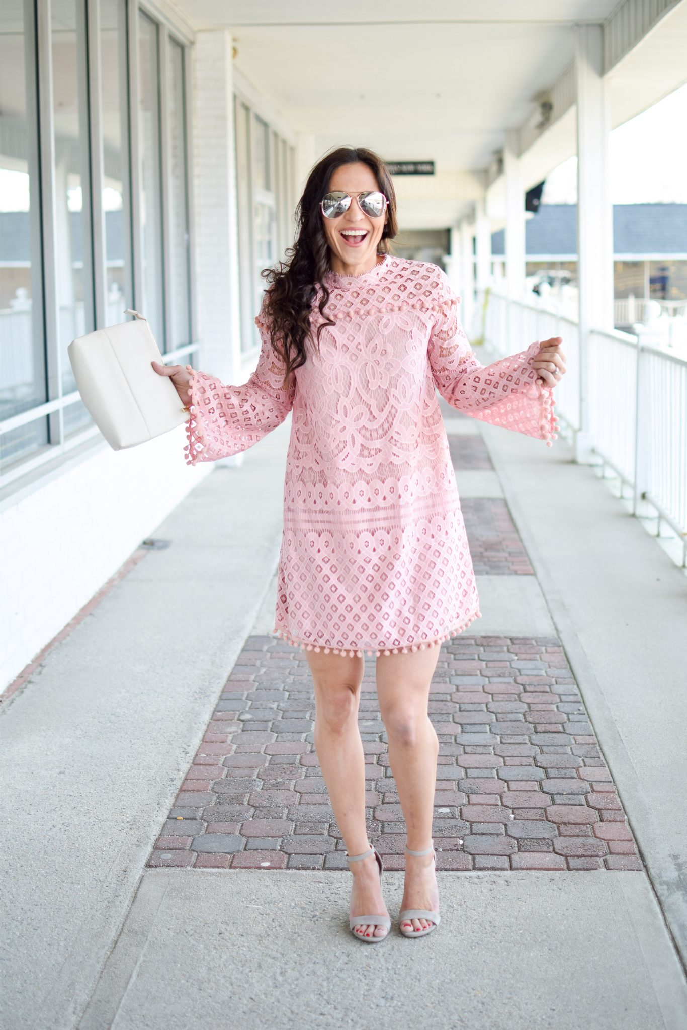 889b53f623 pink lace dress by popular New Jersey fashion blogger Fit Mommy in Heels ...