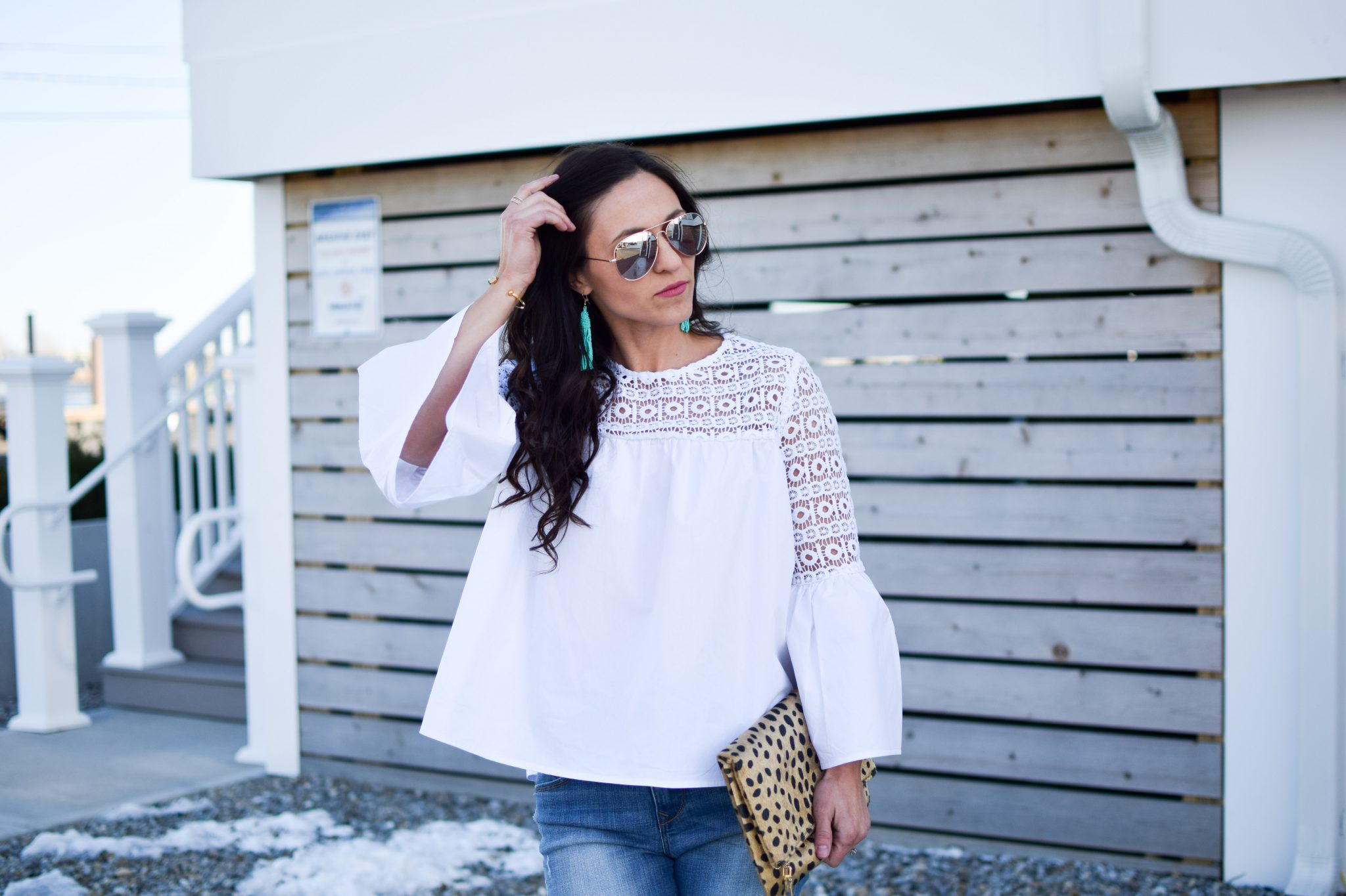 white blouse - shopbop bell sleeve blouse by popular New Jersey fashion blogger Fit Mommy in Heels