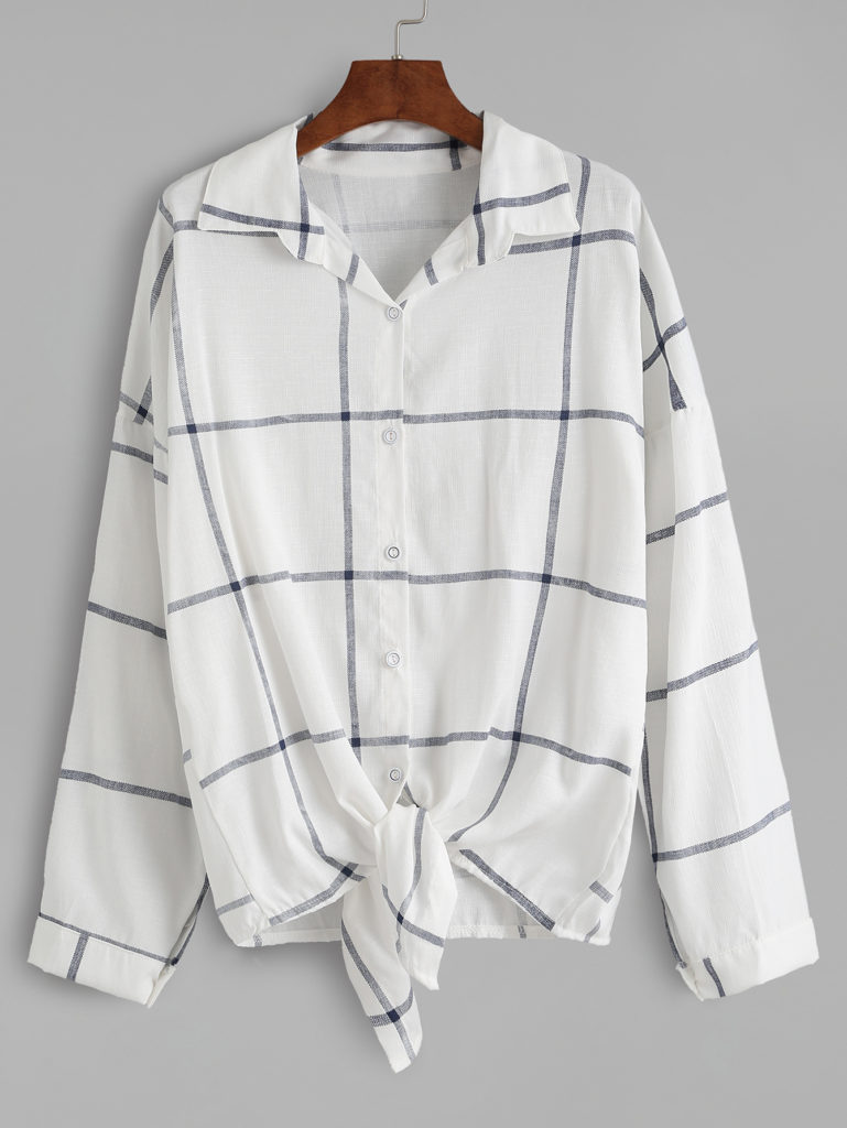 white grid button up