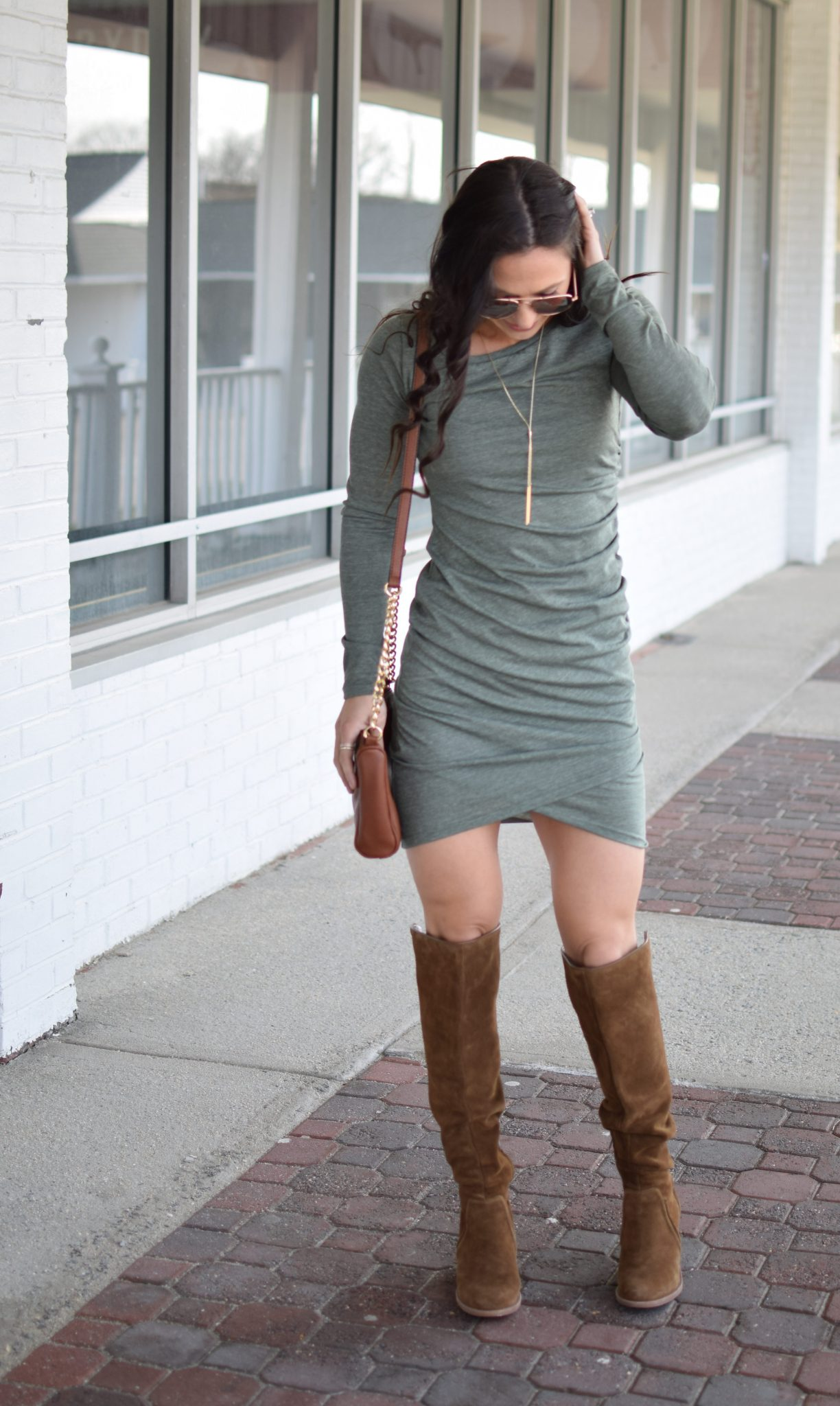 leith ruched dress - Most Flattering Dress EVER by popular New Jersey style blogger Fit Mommy in Heels