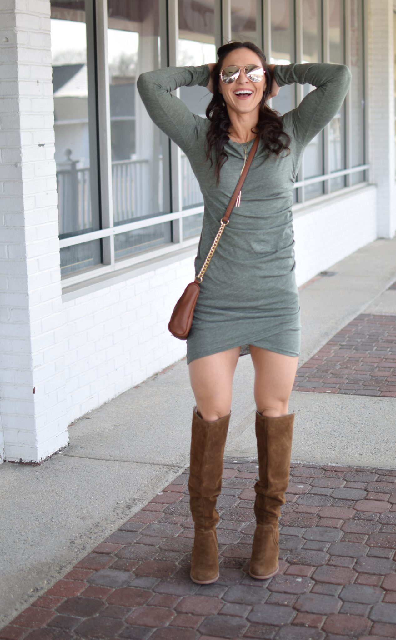 ruched dress - Most Flattering Dress EVER by popular New Jersey style blogger Fit Mommy in Heels