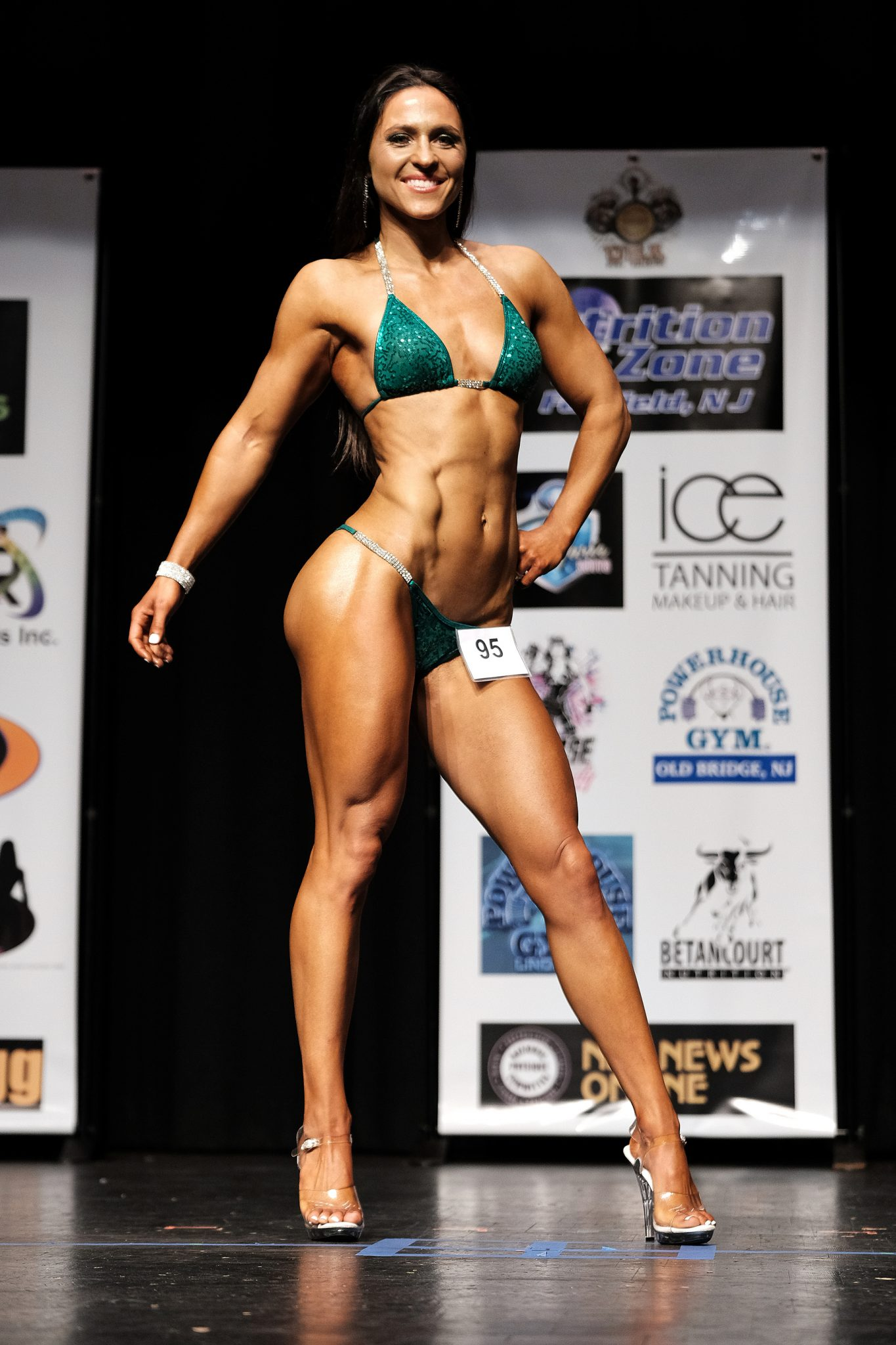 front pose - NPC John Kemper Classic by popular New Jersey fitness blogger and bodybuilder Fit Mommy in Heels