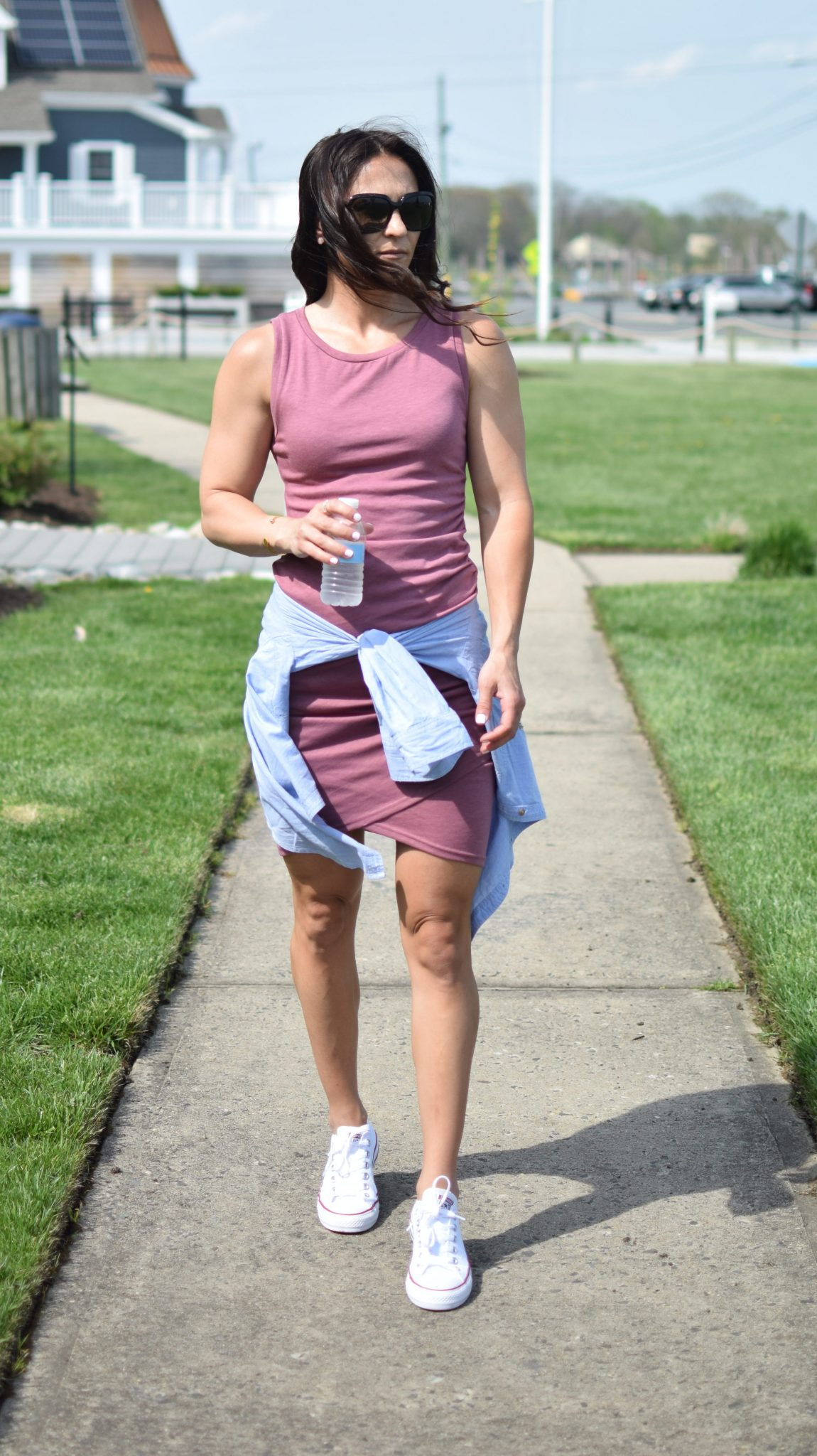 dress with sneakers - 1 Ruched Dress, 3 Ways by popular New Jersey style blogger Fit Mommy in Heels
