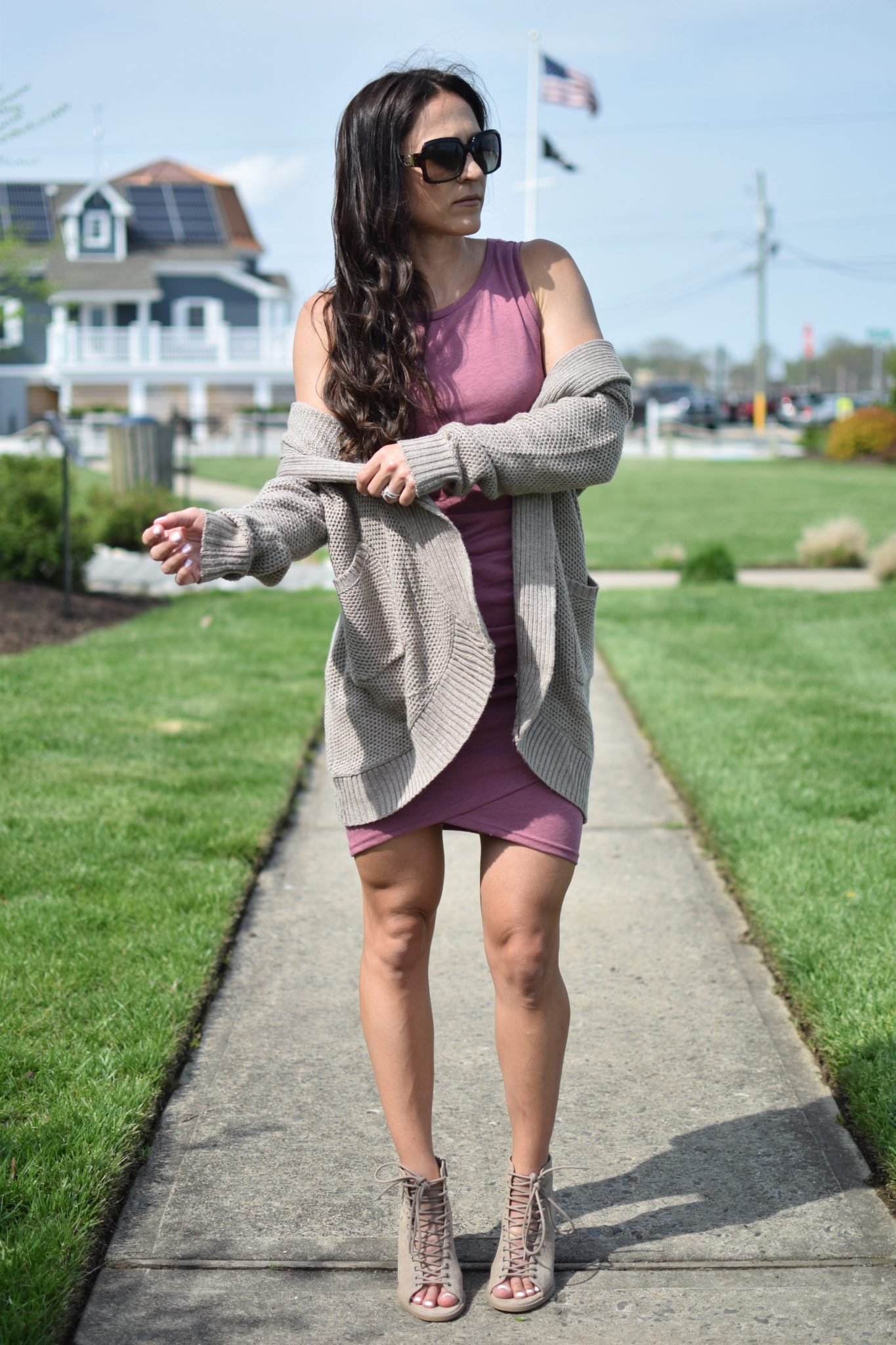 cableknit cardigan - 1 Ruched Dress, 3 Ways by popular New Jersey style blogger Fit Mommy in Heels