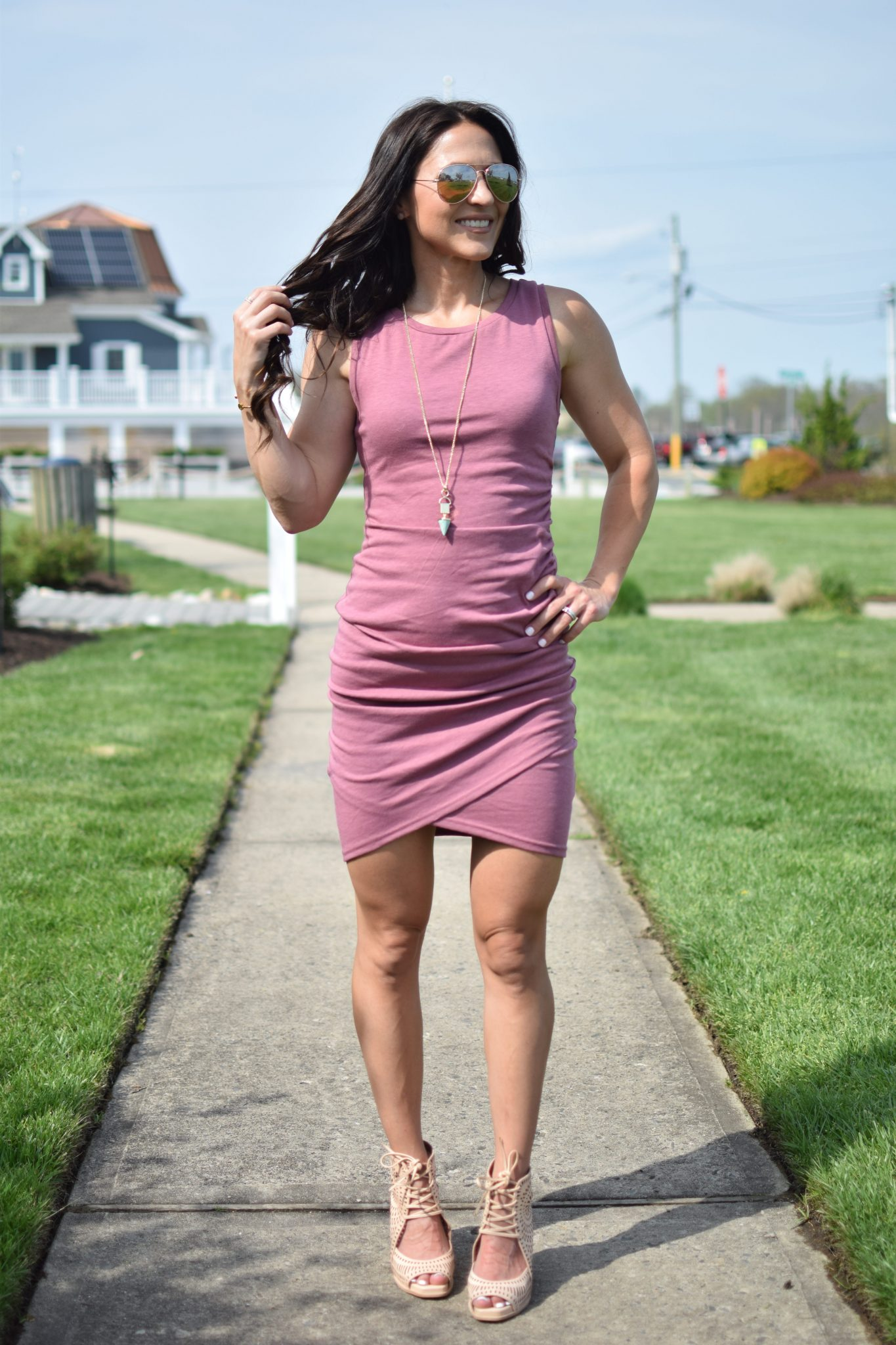 sleeveless dress and wedges - 1 Ruched Dress, 3 Ways by popular New Jersey style blogger Fit Mommy in Heels