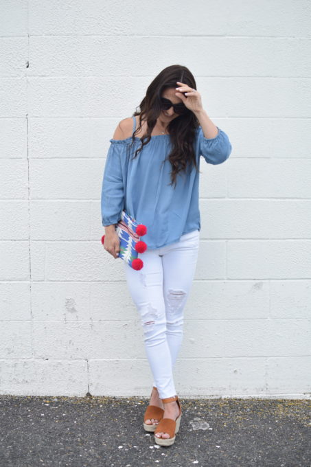 cold shoulder blouse - Cold Shoulder Blouse & Efy Tal Necklace by popular New Jersey fashion blogger Fit Mommy in Heels