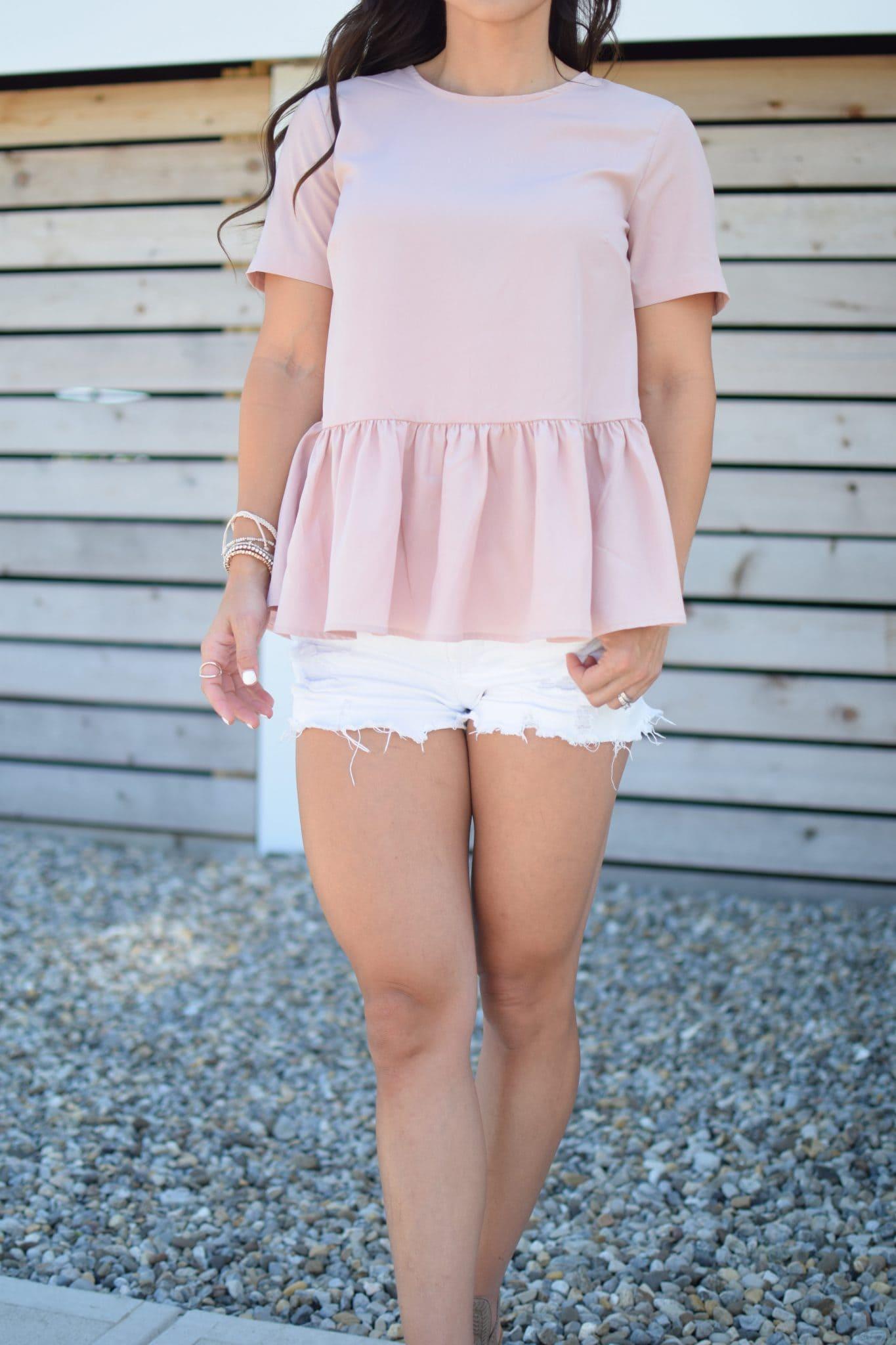white cutoff shorts