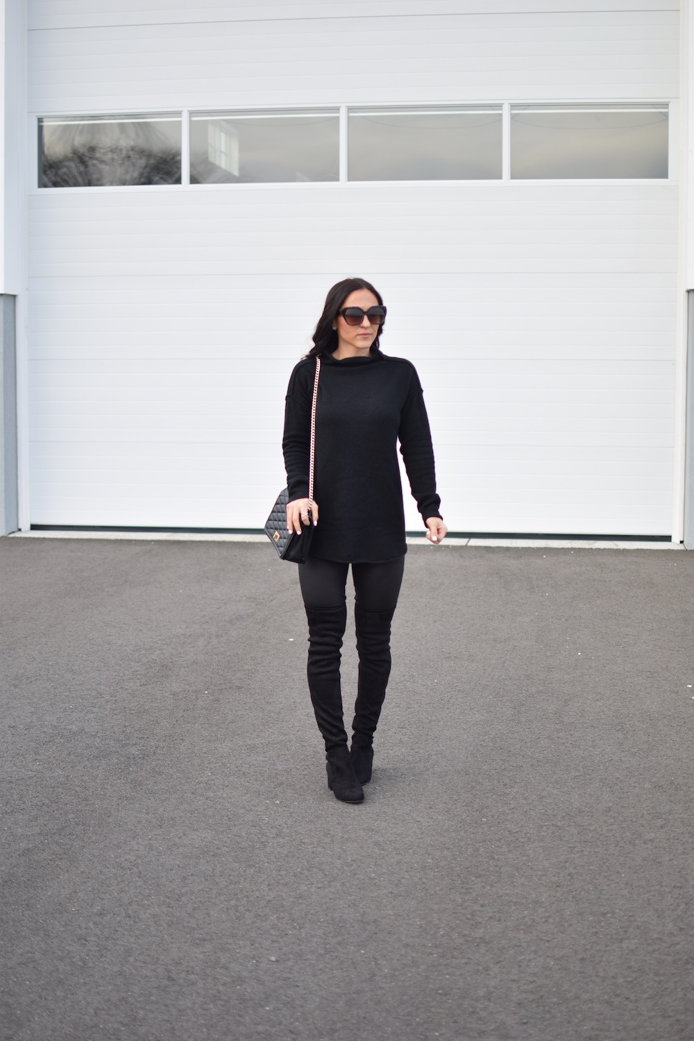 black leggings - How To Style Faux Leather Leggings by popular New Jersey fashion blogger Fit Mommy in Heels