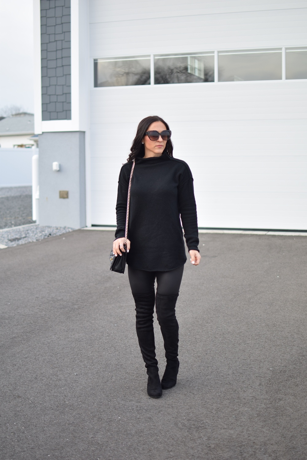black sweater - How To Style Faux Leather Leggings by popular New Jersey fashion blogger Fit Mommy in Heels