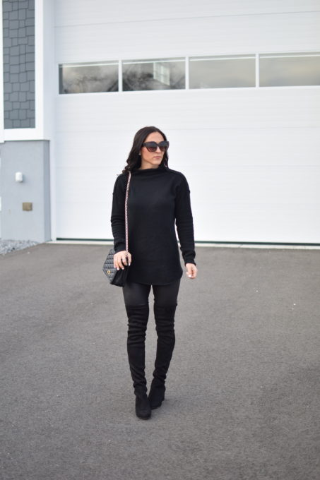 cowl neck sweater - How To Style Faux Leather Leggings by popular New Jersey fashion blogger Fit Mommy in Heels