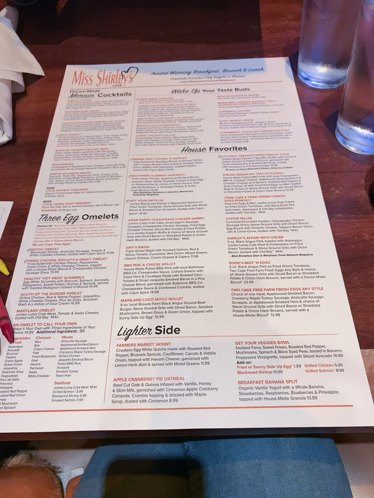 Miss Shirleys Cafe Menu Baltimore Maryland - A Weekend In Baltimore Maryland with Toddlers - Where to stay, What to eat, Things to do by popular New Jersey lifestyle blogger Fit Mommy in Heels