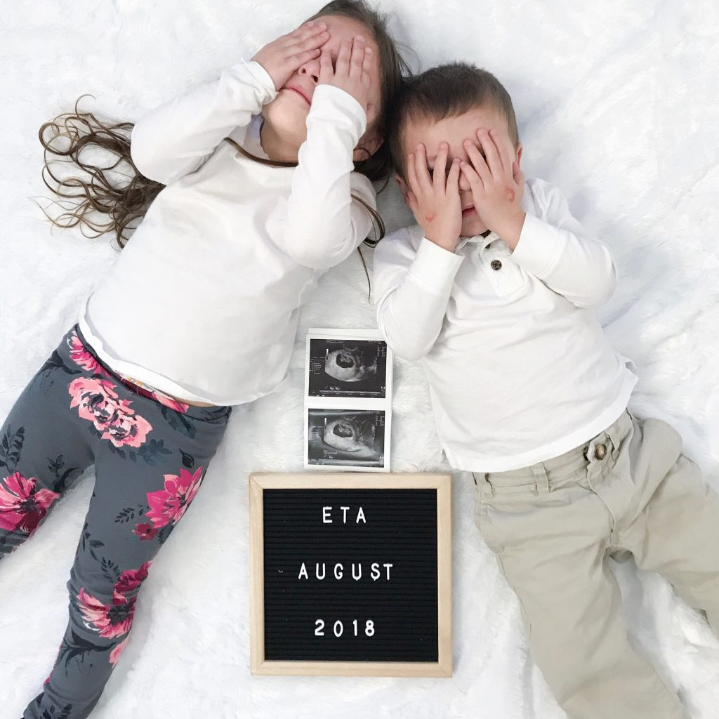 toddlers covering their eyes for a baby surprise  - Baby Number 3 Due August 15, 2018 by popular New Jersey lifestyle blogger Fit Mommy in Heels