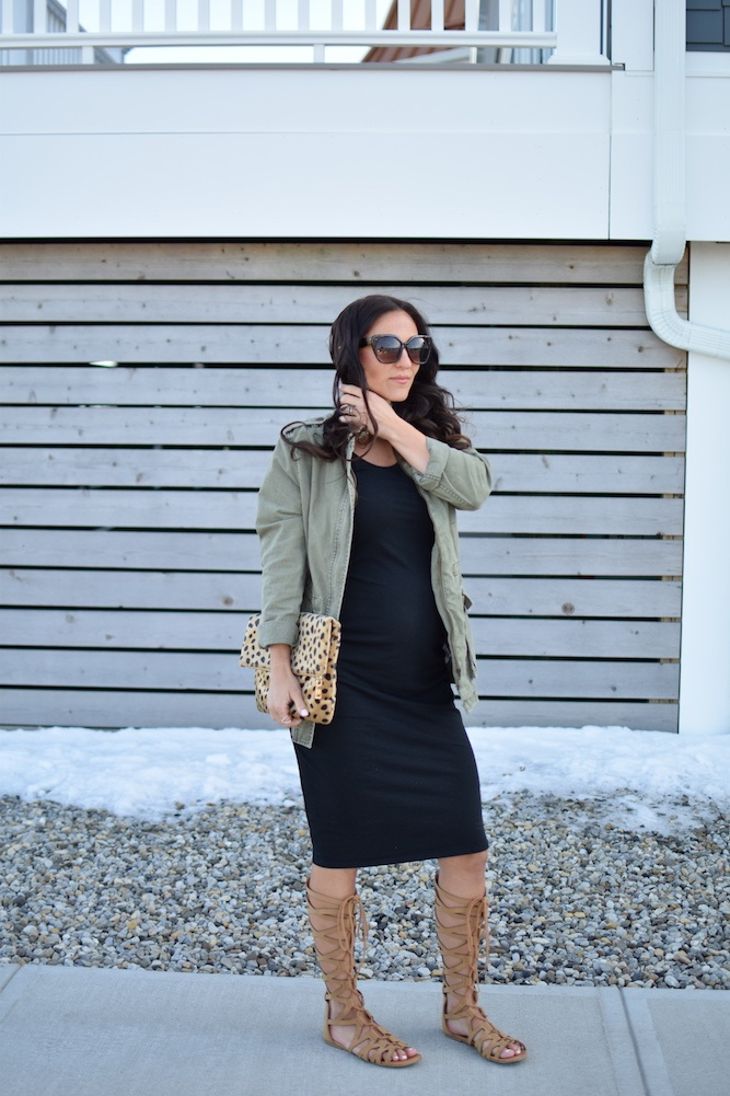 woman wearing maternity dress - Maternity Wardrobe Staples by popular New Jersey style blogger Fit Mommy in Heels