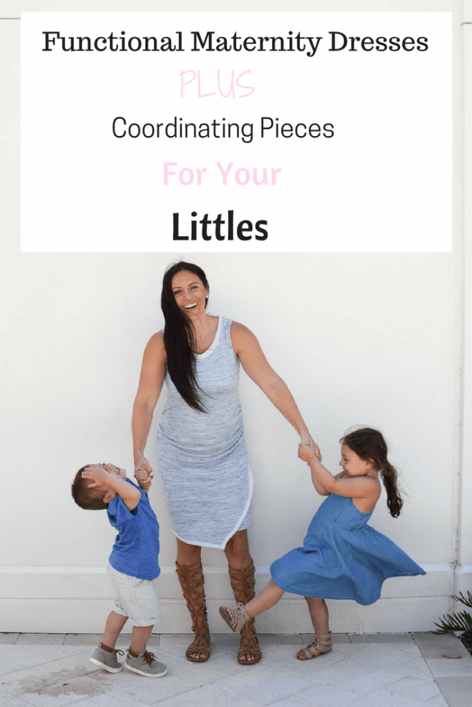 pregnant mother and her kids - 2 Functional Maternity Dresses For Your Second Trimester by popular New Jersey style blogger Fit Mommy in Heels