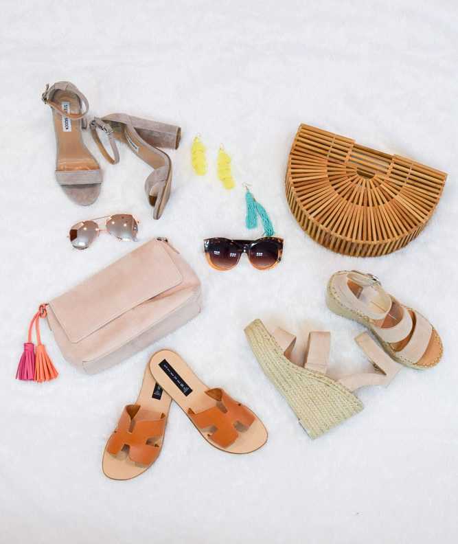 tassel bag, clutch purse, earrings, womens sandals, wedges, slides, heels, sunglasses - Must Have Spring Accessories by popular New Jersey style blogger Fit Mommy in Heels