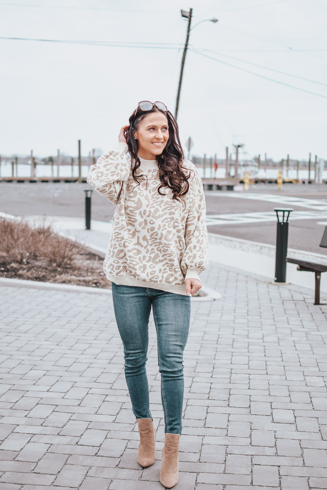 leopard oversized sweater