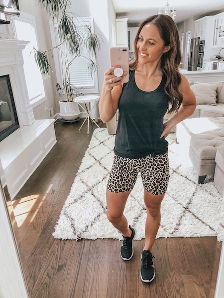 leopard bike shorts outfit