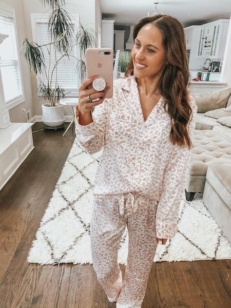silk leopard pajamas