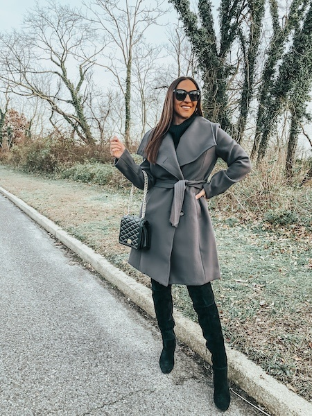 how to look expensive on a budget with a grey winter coat