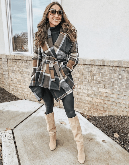 plaid jacket with black leggings