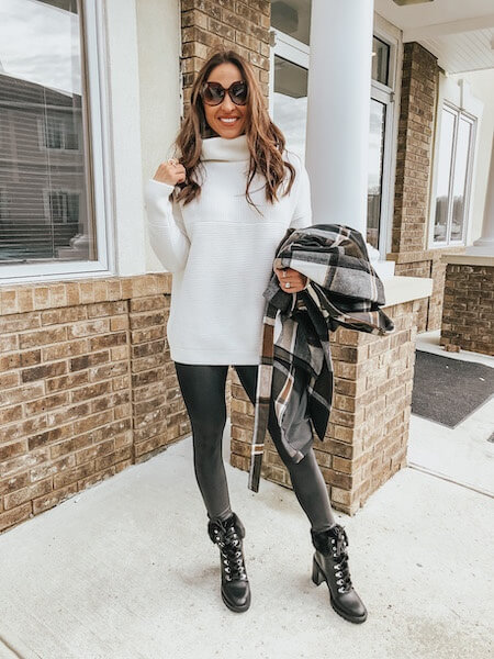 black leggings and white sweater outfit