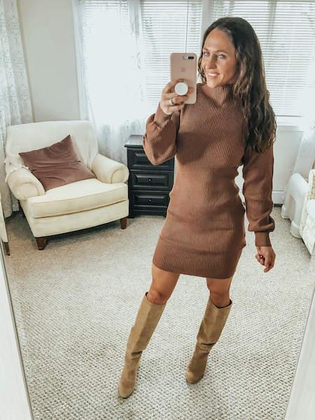 mock neck bodycon dress outfit - amazon winter fashion haul