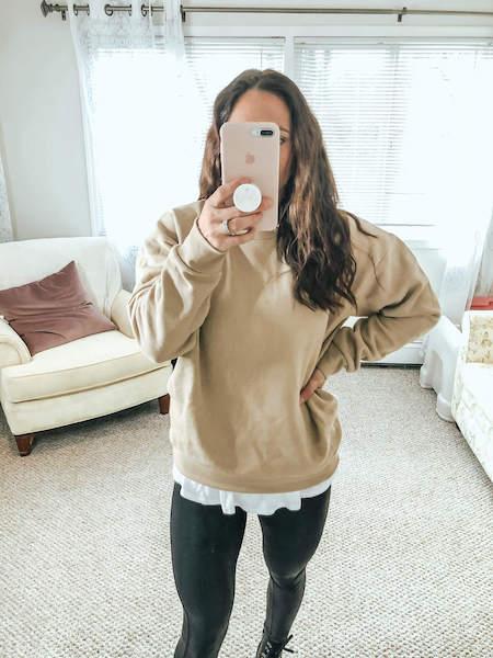 tan sweatshirt - winter amazon fashion haul