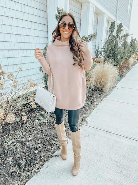 amazon winter fashion haul - woman in leggings and oversized sweater