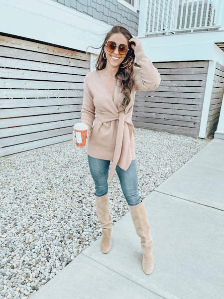 woman in tie front sweater - amazon fashion haul winter 2021