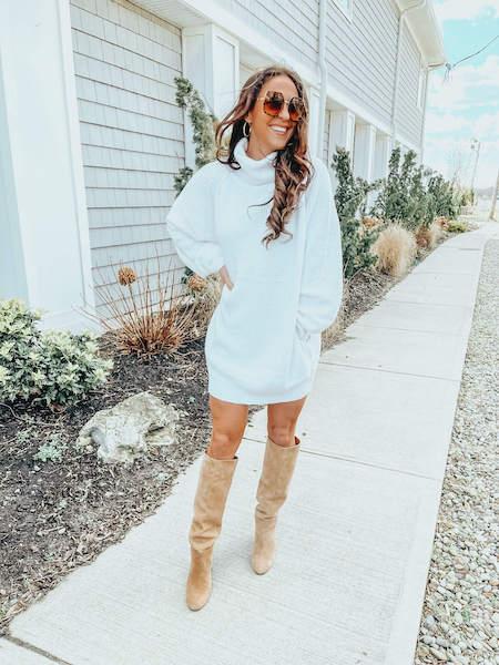 woman in white sweater dress