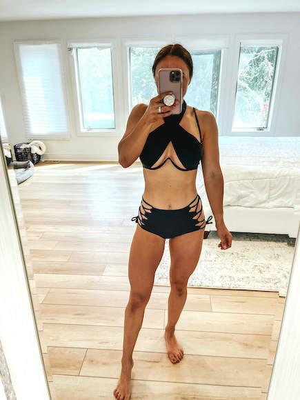 black strappy bikini - shein bathing suit review