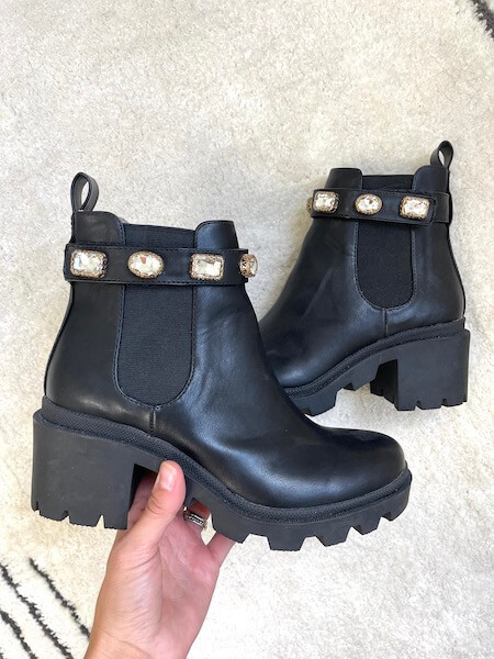 black chunky chelsea boots with stud detailing