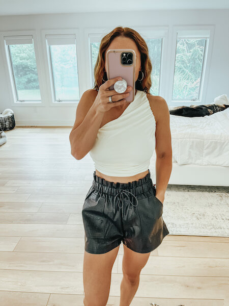 black faux leather paperbag shorts & crop top outfit