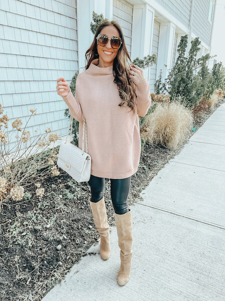 woman in tan sweater and black leggings - how to wear an oversized sweater